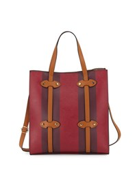 Neiman Marcus Streamer Faux Leather Tote Bag Wine