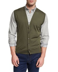 Ermenegildo Zegna High Performance Merino Wool Cardigan Vest Green