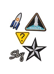 Topman Multi Spaceship And Star Iron On Badge Pack