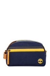 Timberland Genuine Leather Trimmed Canvas Travel Kit Blue