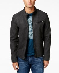 Guess Men's Faux Leather Full Zip Motorcycle Jacket Charcoal