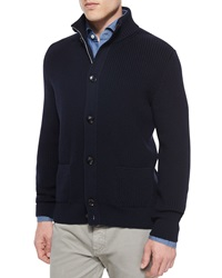 Ermenegildo Zegna Button Front Wool Cardigan Navy