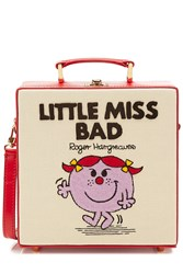 Olympia Le Tan Little Miss Bad Embroidered Cotton Shoulder Bag Multicolor