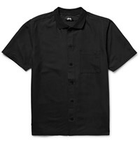 Stussy Vacation Embroidered Matte Satin Shirt Black