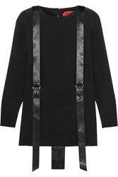 Ronald Van Der Kemp Satin Trimmed Silk Crepe Blouse Black