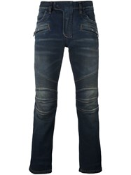 Balmain Slim Fit Biker Jeans Blue