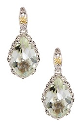 Phillip Gavriel 18K Yellow Gold And Sterling Silver Green Amethyst Teardrop Earrings