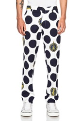 Kenzo Large Polka Dot Cotton Trouser In White Geometric Print Blue