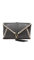 Milly Astor Contrast Whipstitch Clutch Black Nude