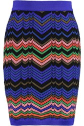 M Missoni Crochet Knit Mini Skirt Blue