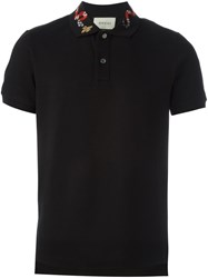 Gucci Snake Embroidery Polo Shirt Black