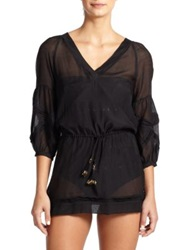 Vix Paula Hermanny Sheer Rayon Tunic Black