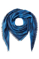 Kenzo Tiger Heads Scarf With Cotton Blue