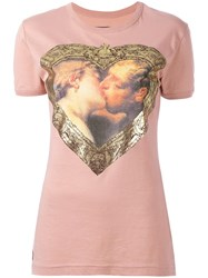 Vivienne Westwood Anglomania Heart Print T Shirt Pink Purple