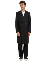 Emiliano Rinaldi Double Breasted Pinstripe Coat Black