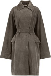 J.W.Anderson Belted Suede Trench Coat Dark Gray