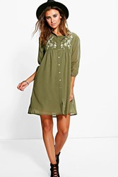 Boohoo Jennie Embroidered Shirt Dress Khaki