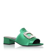 Roger Vivier Embellished Buckle Satin Mules 35 Female Green