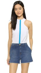 Dsquared Poplin Sleeveless Top White Turquoise