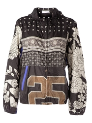 Pierre Louis Mascia Hooded Mixed Print Jacket Black