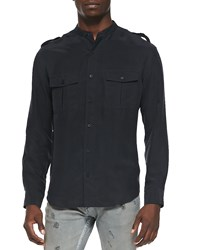 Iro Azaf Band Collar Military Shirt Black