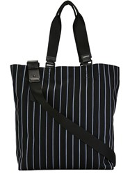Lanvin Striped Shopper Tote Black