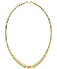 Macy's Graduated Herringbone Necklace In 14K Gold Yellow Gold