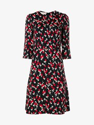 Marni Floral Print A Line Dress Black Red Multi Coloured Denim