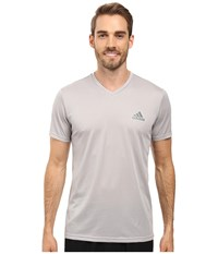 Adidas Essential Tech V Neck Tee Medium Grey Heather Vista Grey Men's T Shirt Gray