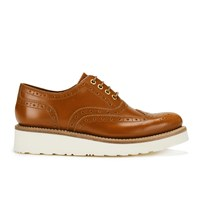 Grenson Women's Emily V Leather Brogues Amber Rub Off Tan