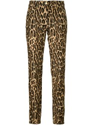 Alberta Ferretti Leopard Print Straight Trousers Brown