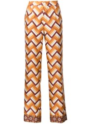 For Restless Sleepers Chevron Print Straight Trousers Yellow And Orange