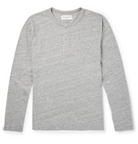 Officine Generale Cotton Jersey Henley T Shirt Gray