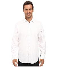 Bugatchi Alberto Tonal Check Long Sleeve Woven Shir White Men's Long Sleeve Button Up