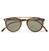Oliver Peoples O'malley D Frame Tortoiseshell Acetate Optical Glasses With Clip On Uv Lenses Brown