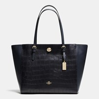 Coach Turnlock Tote In Croc Embossed Leather Light Gold Navy