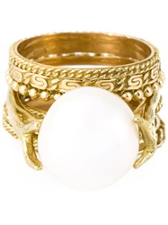 Wouters And Hendrix Gold Pearl Set Of Rings White
