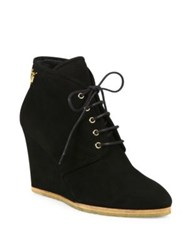 Giuseppe Zanotti Suede Lace Up Desert Wedge Booties Black