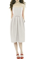 Women's Alfred Sung Strapless Peau De Soie Midi Dress With Bow Belt Snow White