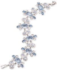 Givenchy Silver Tone Blue And Clear Crystal Flex Bracelet
