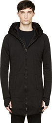 Ma Julius Black Overlong Zip Up Hooded Sweatshirt