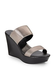 Charles By Charles David Reese Metallic Slide Wedge Sandals Pewter