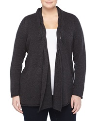 Neiman Marcus Cashmere Braided Open Cardigan Charcoal