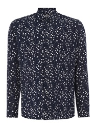 Peter Werth Rey Tonal Floral Slim Fit Long Sleeve Button Down Navy