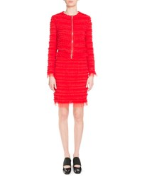 Givenchy Zip Front Pleated Tulle Jacket Red