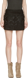 Isabel Marant Black Embroidered Georgette Andy Skirt