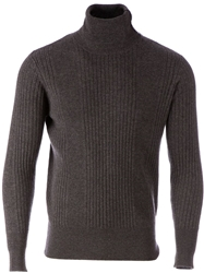 Side Slope Turtle Neck Sweater Grey
