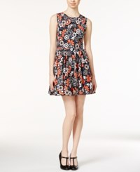 Maison Jules Floral Print Fit And Flare Dress Only At Macy's Black Combo