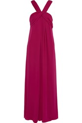 Halston Draped Chiffon Gown Purple