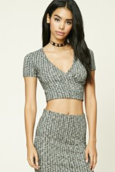 Forever 21 Marled Surplice Crop Top